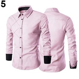e5665a9081a 2019 мужчины стройный подходит рубашка военно-морской флот Fashion-Men  Повседневная деловая застегнутая формальная