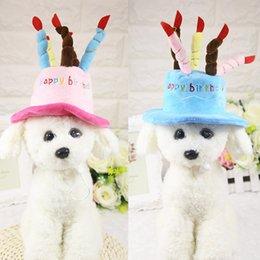 свадебные шляпы Скидка Шапки для собак Pet Cat Dog Шапки на день рождения Шапка с тортом Свечи Дизайн костюма на день рождения Головной убор Аксессуар Товары для собак