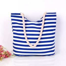 Sacs à main rayés blanc bleu en Ligne-4pcs / lot toile sac de plage d'été dames sacs à bandoulière femmes sacs fourre-tout grands sacs à main femme bleu et blanc rayé occasionnel