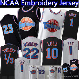 Canada Maillot Space Jam 23 Michael 1 Bugs Bunny 2 Daffy Duck 10 Lapin Lola 13 Tweety 22 Bill Murray Maillots de Basketball Noir Blanc supplier white black duck Offre