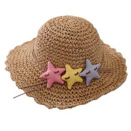 ragazzi crochet cappello da sole Sconti I bambini Sea Star Sun cappello del crochet cappelli di paglia del bambino delle ragazze del ragazzo della visiera Cap Estate pieghevole protezione di Sun della spiaggia dei bambini protezione solare pescatore