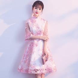 Pink Mini Qipao Bordado De Encaje Tradición China Boda Cheongsam Túnica Moderna Chinoise Qi Pao Vestidos Orientales De La Vendimia