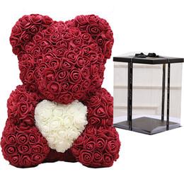 rebstöcke großhandel Rabatt Dropshipping Teddybär Rose Blume 40cm Artificial Seifenschaum Bear of Roses New Year Geschenke für Frauen Valentines Geschenk Hochzeit