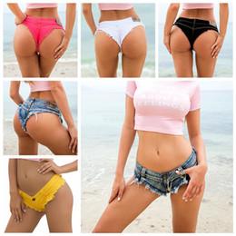 Mulheres sexy bikini bottoms on-line-Mulheres Jeans Shorts Jeans Sexy Biquíni calções de praia verão Feminino Cintura baixa senhoras night club super calças curtas calças Bottoms LJJA2531