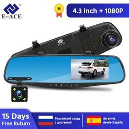 2019 h 264 grabadora E-ACE Full HD 1080P cámara del coche DVR Auto 4,3 pulgadas Espejo retrovisor grabador de vídeo digital con doble objetivo Registratory videocámara