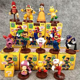 Figure Giocattoli Mario Bros principessa Daisy rospo Mario Luigi Yoshi Donkey Kong funghi figure 13pcs / set con i colori Box da