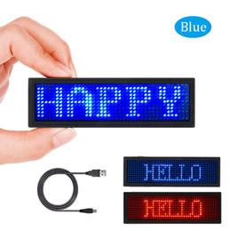 Cartes de programme en Ligne-Étiquette de nom LED, écran de carte de visite à LED rechargeable avec badge nominatif LED, programmation USB à affichage numérique - bleu