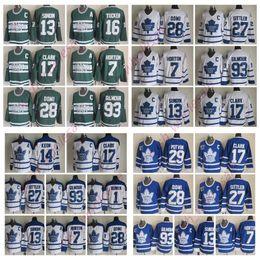 Lazos juveniles online-Toronto Maple Leafs Wendel Clark Doug Gilmour Jersey Borje Salming Darryl Sittler Corbata Domi Johnny Bower Hombre cosido Jockey de jerseys