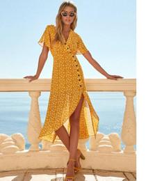 Abito a vita alta da donna Summer Sexy con scollo a V manica corta stampato a bottone singolo a vita alta vestito irregolare giallo Plus Size da vestito collare giallo più fornitori