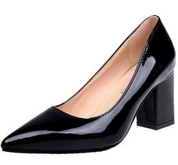 Canada Chaussures habillées femmes escarpins d'été femme gladiateur en cuir verni filles bout pointu bureau dames Chunky hauts talons Zapatos Mujer F180487 Offre