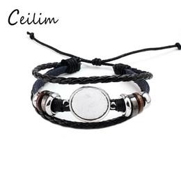 Ébauche de lunette en forme de bracelets en Ligne-DIY Multi Layer Bracelet En Cuir Bracelet Base Vierge Fit 20mm Ronde Photo En Verre Cabochon Réglage Lunette Plateau Fabrication de Bijoux K6074