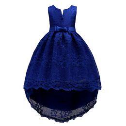 Teenager rotes kleid online-Knielangen Junior High Low Lace Kleider für Teenager Rosa Wein-Rot-Weiß Royal Blue Kleid Abendkleid für Mädchen 2-14