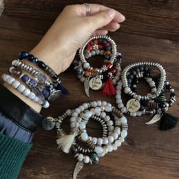 Braccialetti d'argento disegni per le ragazze online-Budha Perline in pietra naturale Bracciali Boho fredda d'argento di angelo di disegno braccialetti dell'amicizia Distance Love Bracelet per i regali ragazze Boy Party