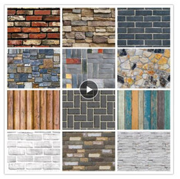 2019 tinta branca chinesa Muro Grão de madeira PVC Home Decor 3D Adesivos tijolo Papel Pedra papel de parede rústico efeito de auto-adesivo Home Decor adesivo quarto