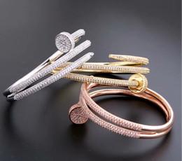 Kreis gold armreif online-Europa Amerika Modemarke Schmuck Dame Messing Doppel Kreis Voller Diamanten Pegs 18 Karat Gold Nägel Armbänder Armreif (1 stücke) 3 Farbe