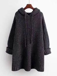 poncho de malha marrom Desconto das mulheres camisola cor sólida solto com capuz Knitwear