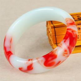 Homens jade pulseira on-line-Presentes Amuleto para as mulheres seus homens Acessórios Genuine Cor Natural Jade Bangle Vermelho Branco Charm Bracelet Jóias forma esculpida