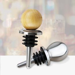 Bottiglie di vino souvenir online-Sfera rotonda vino rosso tappo in silicone in legno in acciaio inossidabile sigillata Bottiglia di birra tappi di nozze souvenir Multi Size 2 4SR E1