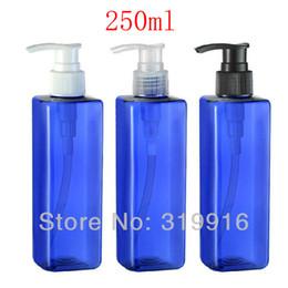 Leere duschgelflaschen online-250ml X 20 leere blaue quadratische Form liquid soap Pumpe Lotionsshampooflaschen Behälter 250er Duschgels Lotionspumpe Spender