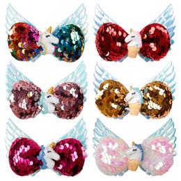 Canada Accessoires pour cheveux Arcs à cheveux Hairgrips for Girls Wings Barrettes à paillettes réversibles avec résine Bowknot cheap hair wing Offre