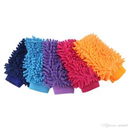 Guantes anti-arañazos online-Guantes de lavado de autos de microfibra Super Mitt de un solo lado Lavado de limpieza Lavado de autos anti arañazos Cepillo de cuidado del hogar