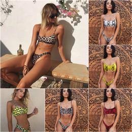 Trajes de baño micro mini mujeres online-Sexy Leopard Bikinis 2019 Micro Bikini Set Push Up Tanga Biquini Corte Alto traje de baño Mujeres Mini traje de baño traje de baño femenino
