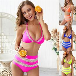 Kadın Yüksek Bel Mayo Kadınlar iki adet İnce Su Sporları Kadın Yüzme Ekipmanları Katı Renk Mesh bikiniler Wear Suits nereden islak görünümlü iç çamaşırı tedarikçiler