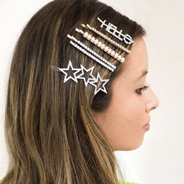 2019 diamante estrelas cabelo Moda estrela de cinco pontas-grampos de cabelo geométrica liga de diamante popular lady grampos de cabelo presentes da festa de feriado diamante estrelas cabelo barato