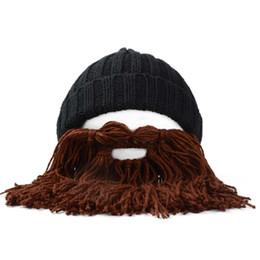 Cappello di barba da sci del beanie online-Inverno caldo dei nuovi uomini di divertente Beard Crochet Cappelli sci Beanie Baffi maglia