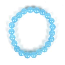 contas brancas de jaspe Desconto Azul adicionar Branco puro e transparente Feito juntos adicionar contas suaves Cheio de brilho Azul Jasper Bracelet.For o casamento