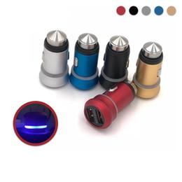 Новый мини размер 12 В 2.4A цельнометаллический двойной USB автомобильное зарядное устройство с синим светодиодом для S4 S6 S8 / iPhone 5 6 7 8 от Поставщики s4 мини-синий