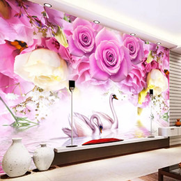 Paredes de papel de parede roxo on-line-Personalizado Wallpaper Photo Wall Modern Painting Purple Rose Flor Swan Sala Sofa TV fundo Mural Papel De Parede 3D