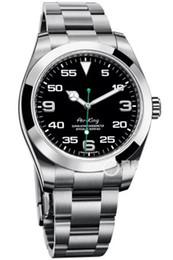 Top relógio homens de luxo aumentou cinta de ouro Air King mostrador preto ponteiro verde espelho automática movment Sapphire vidro relógios dos homens de