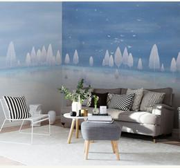 Pittura ad albero blu cielo online-Dipinto a mano cielo blu e affreschi albero bianco 3d 3d grandi sfondi TV divano sfondo wallpaper