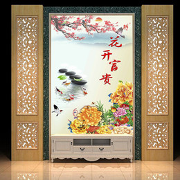 peacock wallpaper 3d Coupons - Large 3D murals porch vertical corridor flowers and rich Peacock peony flower wallpaper decor living room wall