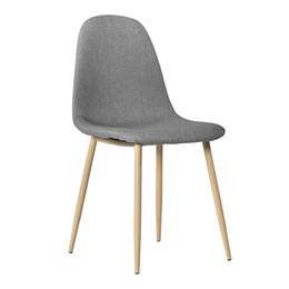 Zimmermöbel online-4pcs Modern Style Einfache Dining Chair Grau Holz Leinen Polster Wohnzimmer Möbel