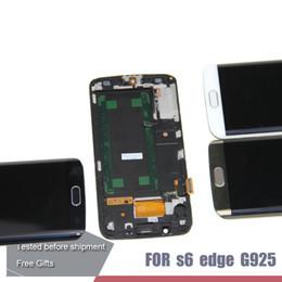 Oro del bordo della galassia s6 online-Per SAMSUNG Galaxy S6 edge LCD + Frame G925 G925I G925F Touch Screen Digitizer Blu Bianco Oro