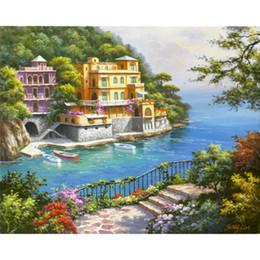 case del mediterraneo dipinti ad olio Sconti Dipinti a mano bellissimi dipinti ad olio Venezia Paesaggi mediterranei Appartato Cove opere d'arte per la decorazione domestica