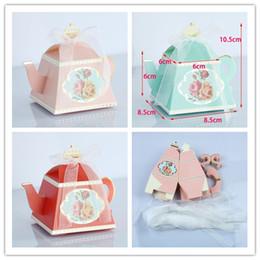 2020 bolsas de regalo de boda para invitados Tetera Cajas de dulces Favores de boda y caja de regalo para invitados Fiesta de cumpleaños Fiesta de cumpleaños Bolsas de papel Caja de dulces Suministros para fiestas bolsas de regalo de boda para invitados baratos