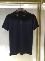 2019 Летние мужские рубашки поло с коротким рукавом мужские рубашки Пчелы с молнией вышитые воротник змеи топы вышивка рубашки поло от