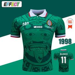 s fußball uniformen großhandel Rabatt ^ _ ^ Großhandel Retro 1998 Mexiko Trikots Classic Vintage Thailand Home Blue entfernt BLANCO HERNANDEZ Fußball Uniformen Fußball Trikots
