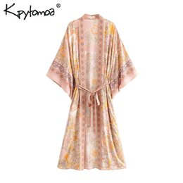 Blusa formal mujer verano online-Boho Chic Summer Vintage Estampado floral Con Fajas Kimono Mujer 2019 Moda Cardigan Loose Ladies Beach Blusas Blusas Mujer Y19062501