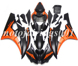 2019 yamaha r6 naranja negro (Moldeo por inyección) Nuevo estilo ABS carenados completos Fit Kit para Yamaha YZF-R6 R6 2006 2007 06 07 carenado de la carrocería de color naranja mate negro