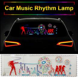 Ritmi di musica adesivi auto online-90 * 25cm Car Musica Ritmo lampada dell'automobile autoadesivo infiammante del compensatore di musica sul parabrezza LED attivato suono EL Foglio autoadesivi della colla
