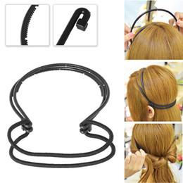 Haarband lockt online-Mode Frau Haarschmuck Magic Hair Curls Bun Doppel Bands Band Braid Schwarz Kunststoff Stirnband-Brötchen-Hersteller New