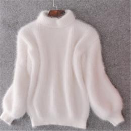Pullover di visone online-20 New Maglione dolcevita in cashmere invernale Cashmere Mohair Donna Maglioni e pullover Visone Pullover manica spessa lanterna spessa calda