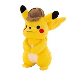 Detetive Pikachu bonecos De Pelúcia 33 cm Pikachu brinquedos de pelúcia dos desenhos animados de Pelúcia brinquedos macios melhores presentes cheap toys 33 de Fornecedores de brinquedos 33