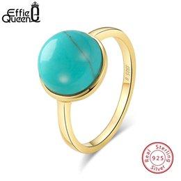 anelli di lapis Sconti Effie regina 925 Sterling Silver Ring Donne Turchese Lapis Cat Eye simulato di perle femminile anelli di nozze del partito Fine Jewelry TSR69