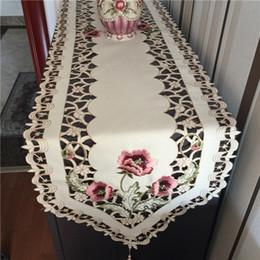 Tovaglia ricamata di lusso online-Tovaglia tovaglia runner ricamata con tovaglia traforata, tovaglia di lusso per tavolo da decorazione