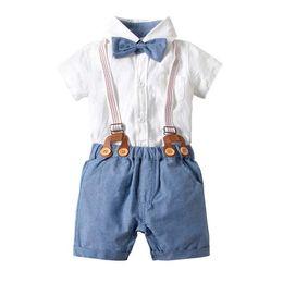 Jungen hosen hosenträger online-Sommer Baby, Kleinkind Jungen Designer Kleidung Jungen Kleidung Infant Outfits Jungen Kleidung Sets Neugeborenen Anzüge Shirt + Strumpfhose A2524